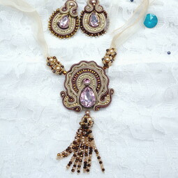 Soutache pendant and earrings